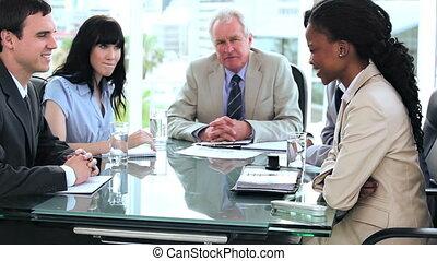 autre, équipe, affaires conversation, chaque, sourire