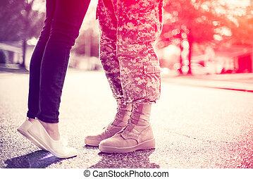autre, appliqué, croix, foyer, militaire, retour foyer, fuite, chaque, baisers, jeune, concept, toning, coin, couple, doux, processus, lumière