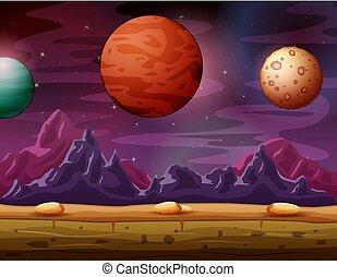 autre, beau, planète, paysage, vue, rouges, planètes