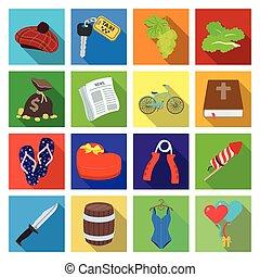 autre, célébration, voyage, industrie, icône, toile, ensemble, collection., tourisme, business, style., icônes, plat, récréation