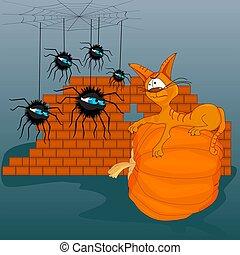 autre., chat, chaton, chaque, spiders., regard, araignées, brun