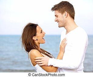autre, couple, chaque, apprécier, plage, compagnie