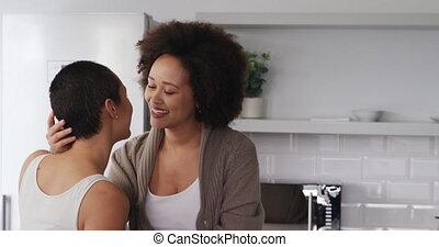 autre, couple, lesbienne, chaque, cuisine, baisers