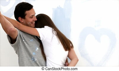 autre, couple, mignon, chaque, baisers