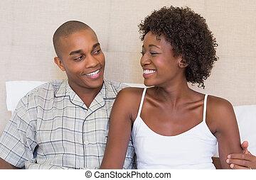 autre, couple, séance, chaque, sourire, lit, heureux