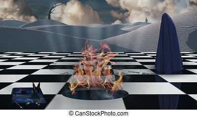 autre, dimension, échiquier, portail, brûlé