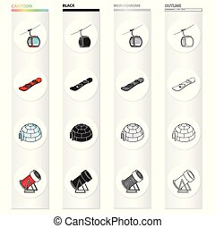 autre, hiver, icône, dessin animé, toile, ensemble, récréation, collection., tourisme, compétitions, style., montagnes, icônes, nord