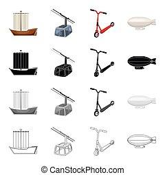 autre, machinerie, eau, icône, dessin animé, toile, ensemble, collection., équipement, air, terre, style., transport, icônes
