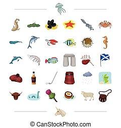 autre, mer, animal, ecosse, icône, dessin animé, tradition, ...