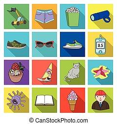 autre, restaurant, médecine, icône, toile, ensemble, récréation, collection., tourisme, business, sport, icônes, plat, style.
