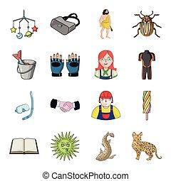 autre, rivière, icône, dessin animé, toile, animal, tourisme, chat, ensemble, collection., style., lynx, icônes, récréation