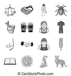 autre, rivière, lynx, icône, toile, animal, tourisme, chat, ensemble, collection., style., monochrome, icônes, récréation
