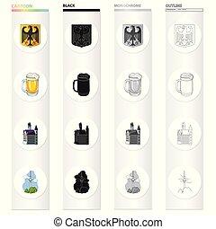 autre, symbole, national, histoire, icône, dessin animé, toile, tourisme, allemagne, ensemble, collection., style., icônes, récréation