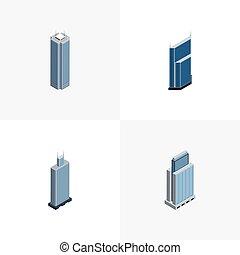 autre, urbain, isométrique, ensemble, urbain, business, construction, centre, inclut, gratte-ciel, aussi, vecteur, elements., business, objects., centre