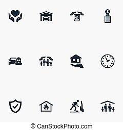 autre, véhicule, protection., vecteur, propriété, voleur, sauvegarde, icons., synonyms, éléments, ensemble, sûreté protection, voiture, assurance, simple, illustration