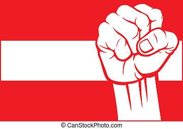 autriche, (flag, poing, austria)