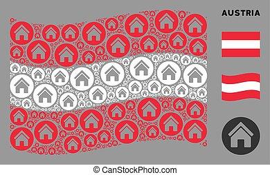 autriche, mosaïque, vrai, drapeau ondulant, icônes, propriété