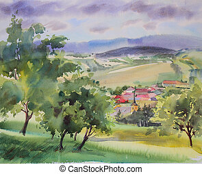 autrichien, paysage, peint, par, aquarelle