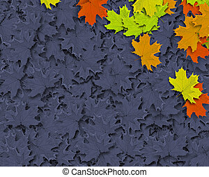 Autum Background with colorful fall leaves falling down from tree