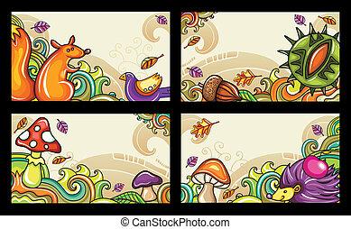 Autummal cards 1 - Vector set of decorative autumnal cards. ...