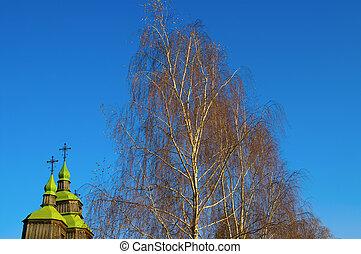 autumn., 教会, そして, birch.