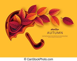 Autumn 3d paper cut umbrella with leaves. Abstract background with shapes in yellow, orange, purple colors. Design for decoration, business presentation, posters, flyers, prints, vector.