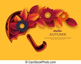 Autumn 3d paper cut umbrella with leaves and flowers. Abstract background with shapes in yellow, orange, purple colors. Design for decoration, business presentation, posters, flyers, prints, vector.