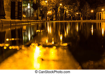 Autumn. A puddle on the pavement with a reflection of lanterns in the evening. Autumn