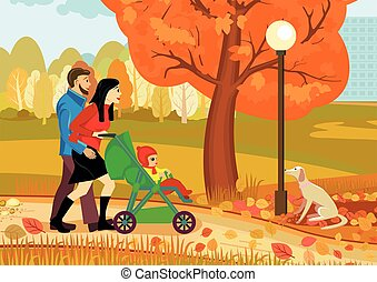 Autumn. A young couple with a baby stroller walking in nature on an autumn day. Vector illustration
