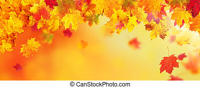 Autumn abstract background with falling leaves