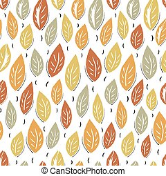 Autumn abstract leaves seamless pattern background