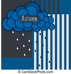 Autumn. Abstract striped background with blue cloud and rain
