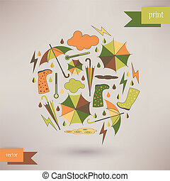 Autumn abstract vector background. simple shapes and bright colors for the fabric, web, print. rainbow colors.