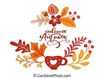 autumn., accueil, affiche, nature, texte, feuilles, automne, chêne, salutation, saison, arbre, octobre, bouleau, conception, feuillage, orange, novembre, érable, bannière, ou, carte