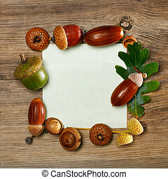 Autumn acorn frame with copy-space