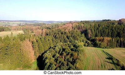 autumn aerial countryside highland landscape