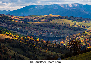 autumn afternoon in mountainous countryside - late autumn...