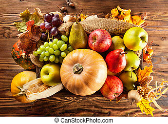 Autumn agriculture products on wood - Agriculture harvested...