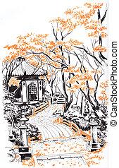 Japanese garden. Sketch.