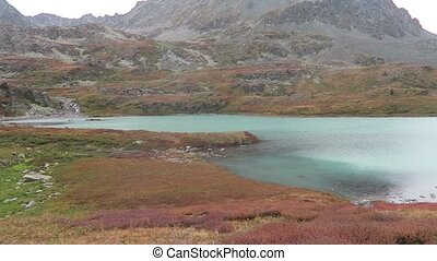 Autumn Altai Mountains landscape. Kulagash lake scenic view.