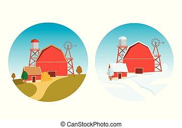 Autumn and Christmas farm on new year's eve. Winter fairy tale. Vector template