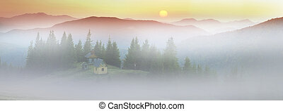 Autumn and monastery - High in the mountains located ...