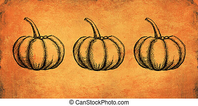 Autumn and thanksgiving orange textured background with hand painted pumpkin illustration. Minimal art seasonal concept. Greeting card and invitation dinner design.