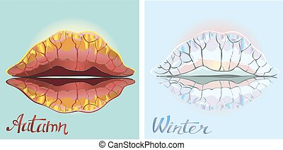 Autumn and winter. Isolated on white background.