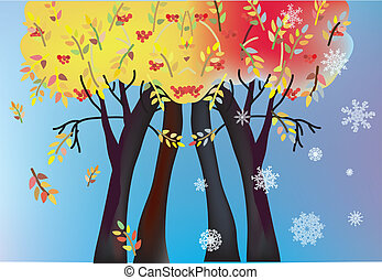 Autumn and winter trees card with leaves and snow