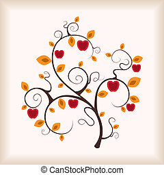 Autumn apple-tree. Vector illustration.