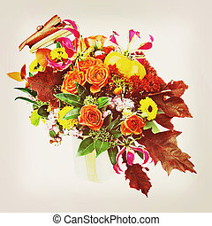 Autumn arrangement of flowers, vegetables and fruits with retro filter effect.