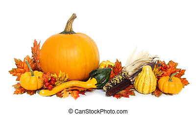 Autumn arrangement of pumpkins and gourds with red leaves