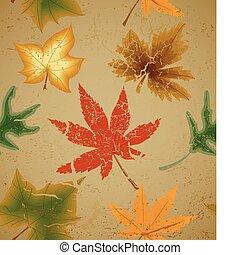 Autumn art leaf vintage seamless background - Autumn art...