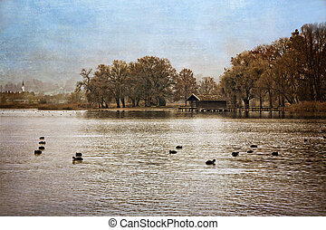 Autumn at lake Chiemsee, Germany, textured